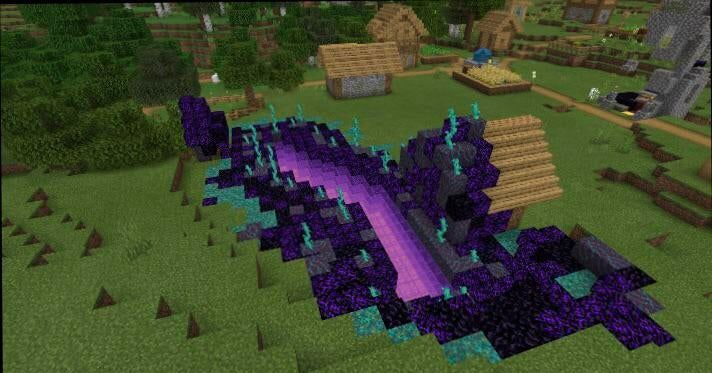Quick build on a creative world I transformed a small ravine into what I think of as a being spreading out from a portal to a different dimension