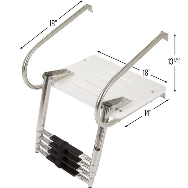 3 Step 304 Stainless Boat Ladder Dock Ladder Swimming Pool Ladder Reliable New