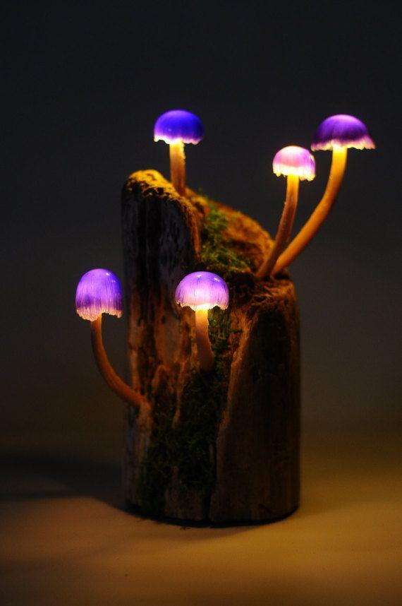 Mushroom Lamp Purple Five Mushroom Battery Powered Light