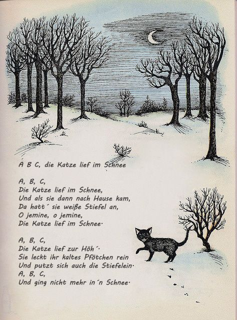 abc die katze lief im schnee gedicht reim lied winter schnee musik gedichte stra enkunst. Black Bedroom Furniture Sets. Home Design Ideas