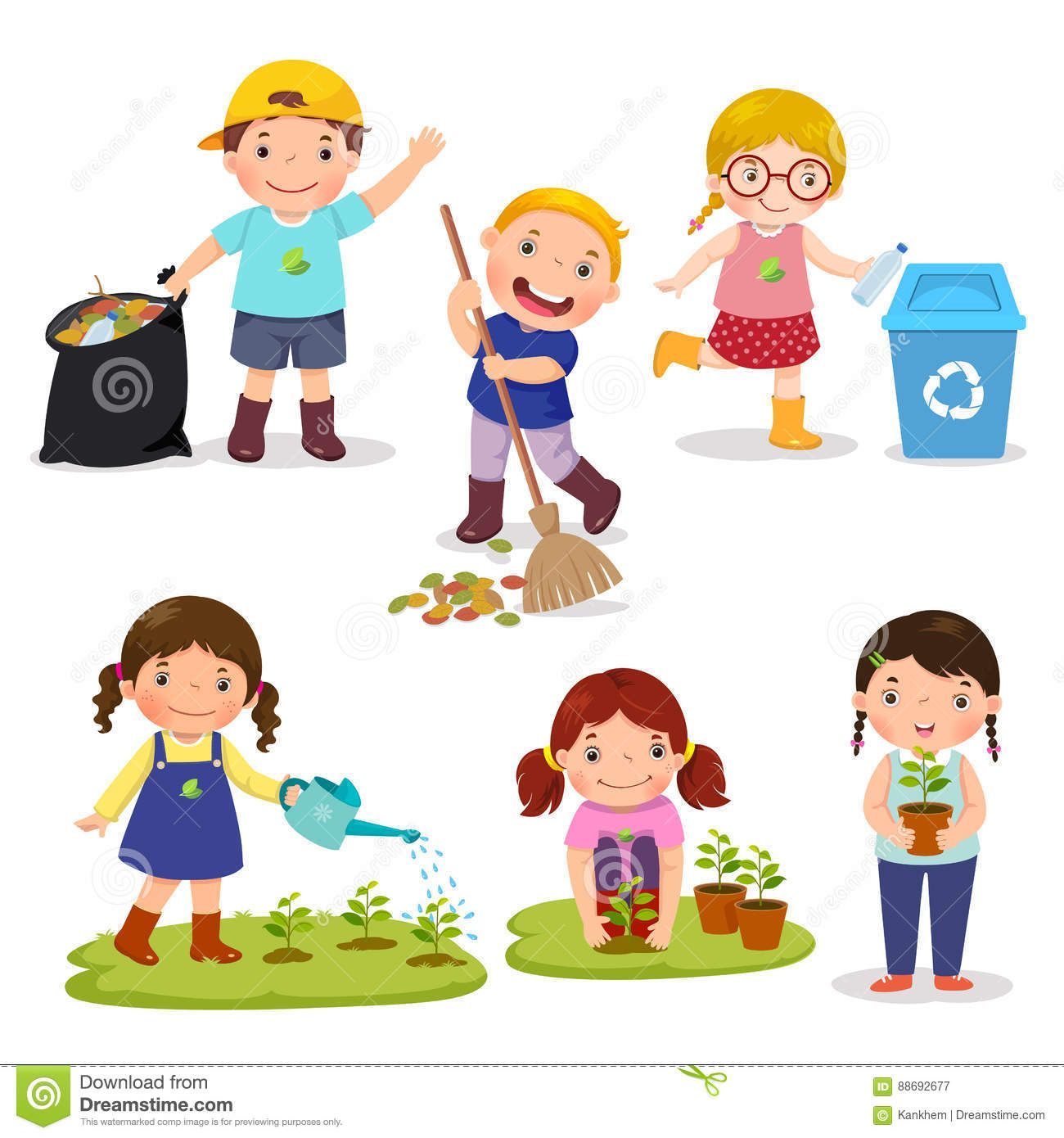 Set Of Cute Kids Volunteers Illustration About Cleaning Cartoon Concept Activity Leaves Childhood Il Art Drawings For Kids Drawing For Kids Kids Clipart