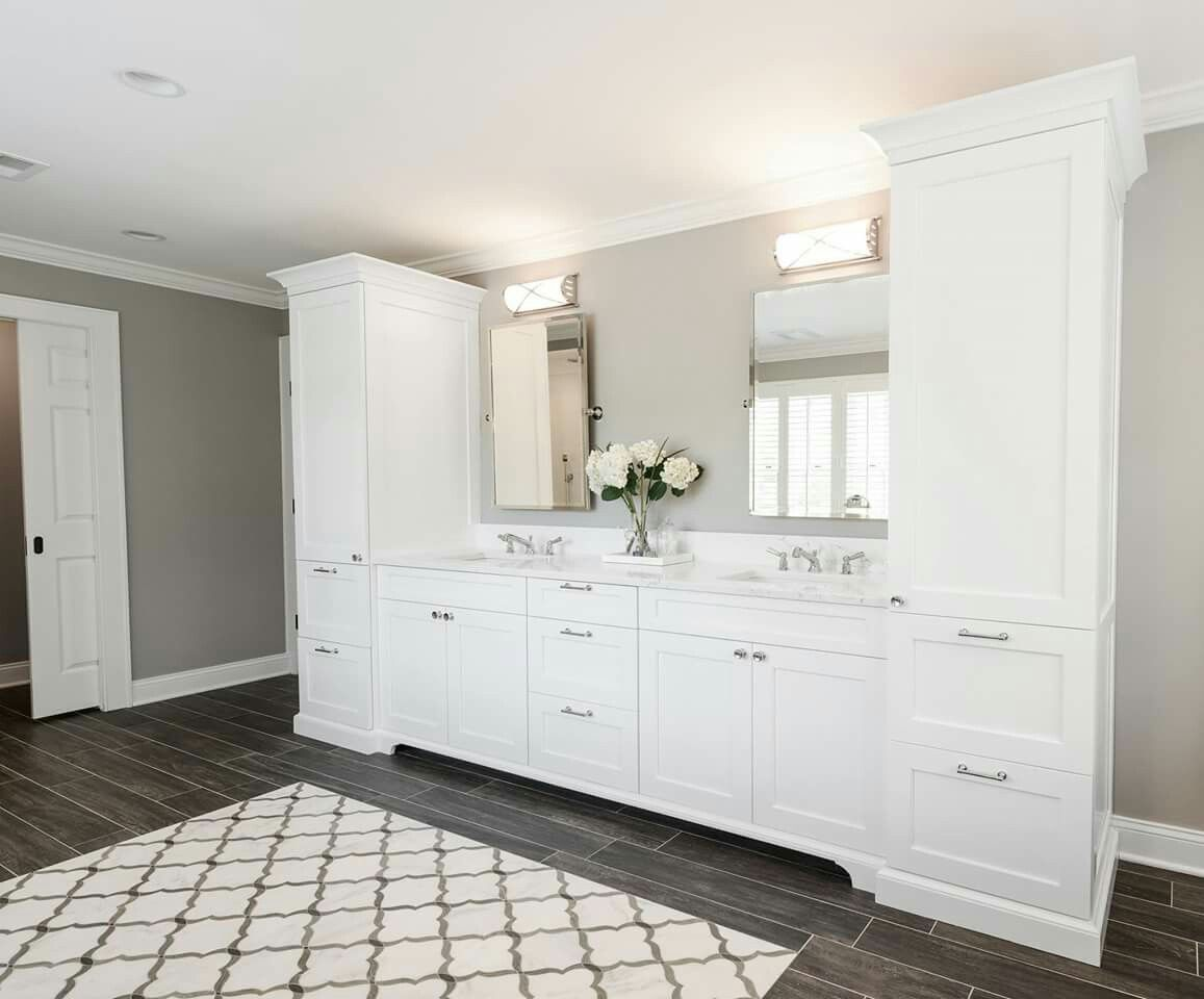 White cabinets in master bathroom suite | Home Ideas | Pinterest ...