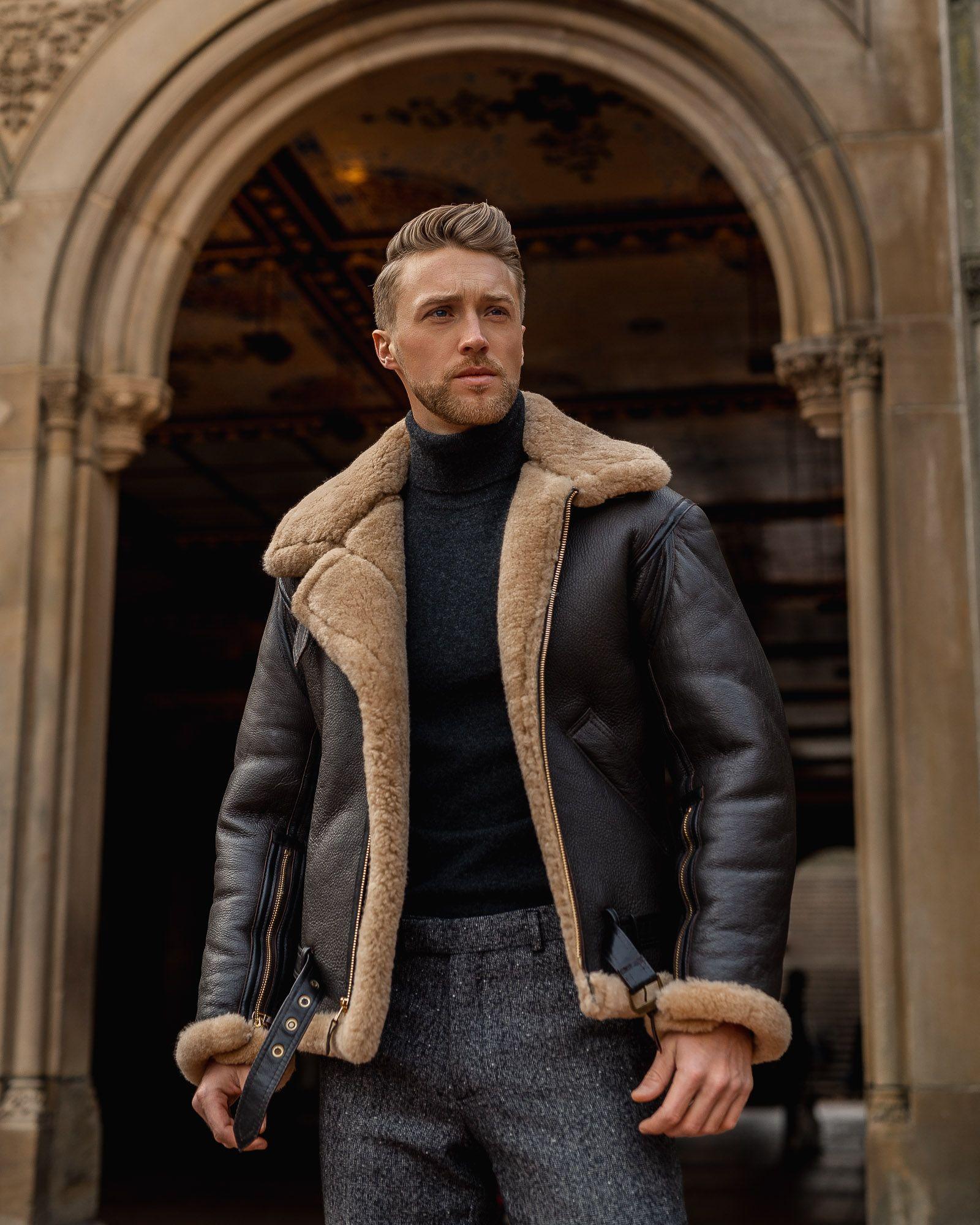 R A F Sheepskin Bomber Jacket Z2109 Mens Shearling Jacket Stylish Mens Outfits Mens Winter Fashion [ 2000 x 1600 Pixel ]