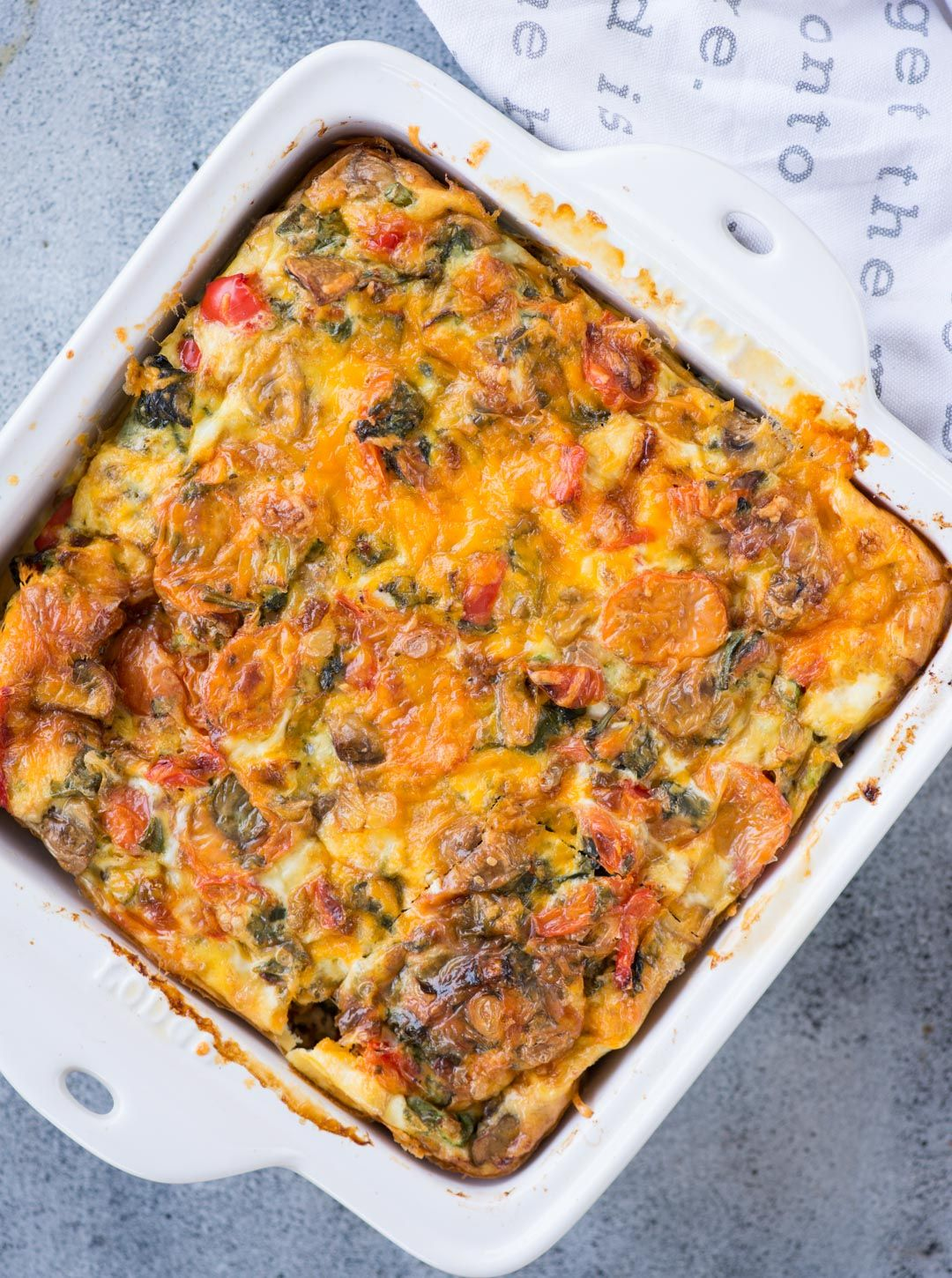 Easy breakfast casserole with bread loaded vegetables, egg ...