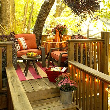 Awesome for the deck. Love the fall lights, and love the cozy comfortable colorful furniture/rug