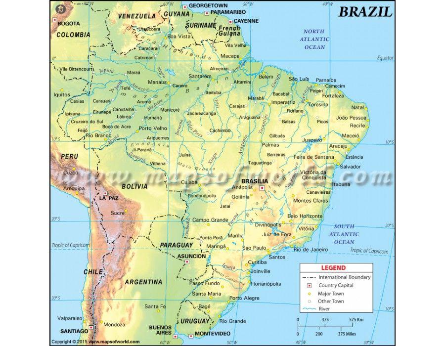 Brazil Physical Map store mapsofworld Pinterest Brazil