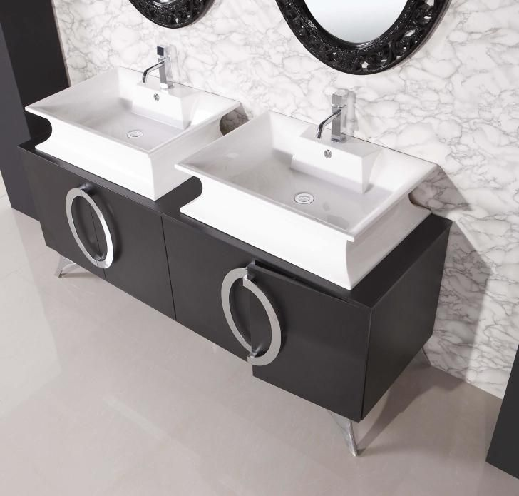 small sink vanity for small bathrooms%0A Bathroom  Amazing Double Sink Unique Stainless Faucet At Small Bathroom  Vanities With Black Wooden Solid Painting As Well As Circle Unique M