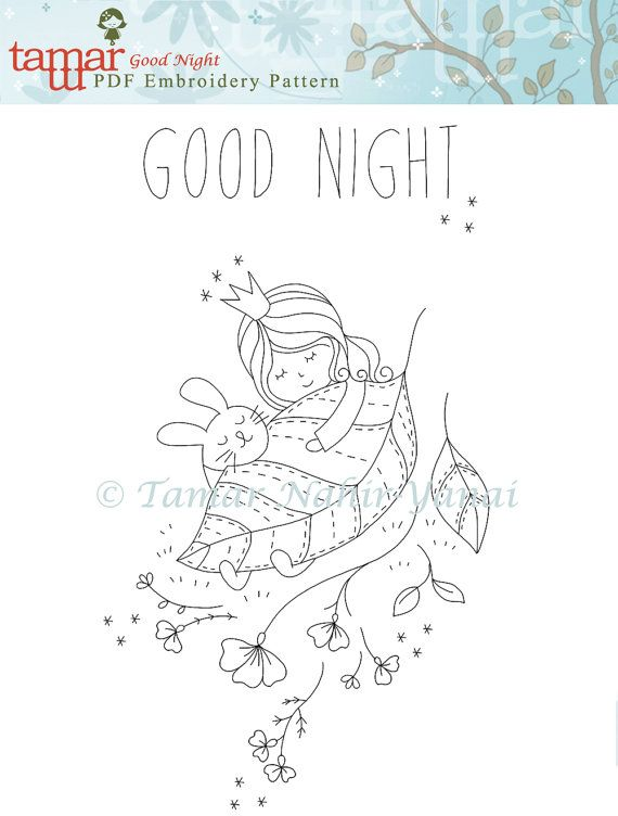 PDF File, Digital embroidery designs – Good Night – Embroidery pattern, Digital nursery art, Digital templates, baby girl embroidery