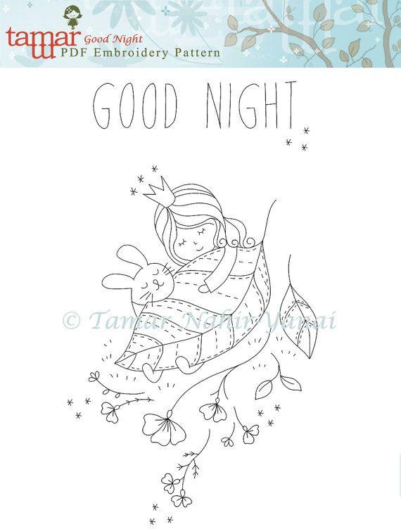 Digital embroidery designs, Digital artwork - Good Night