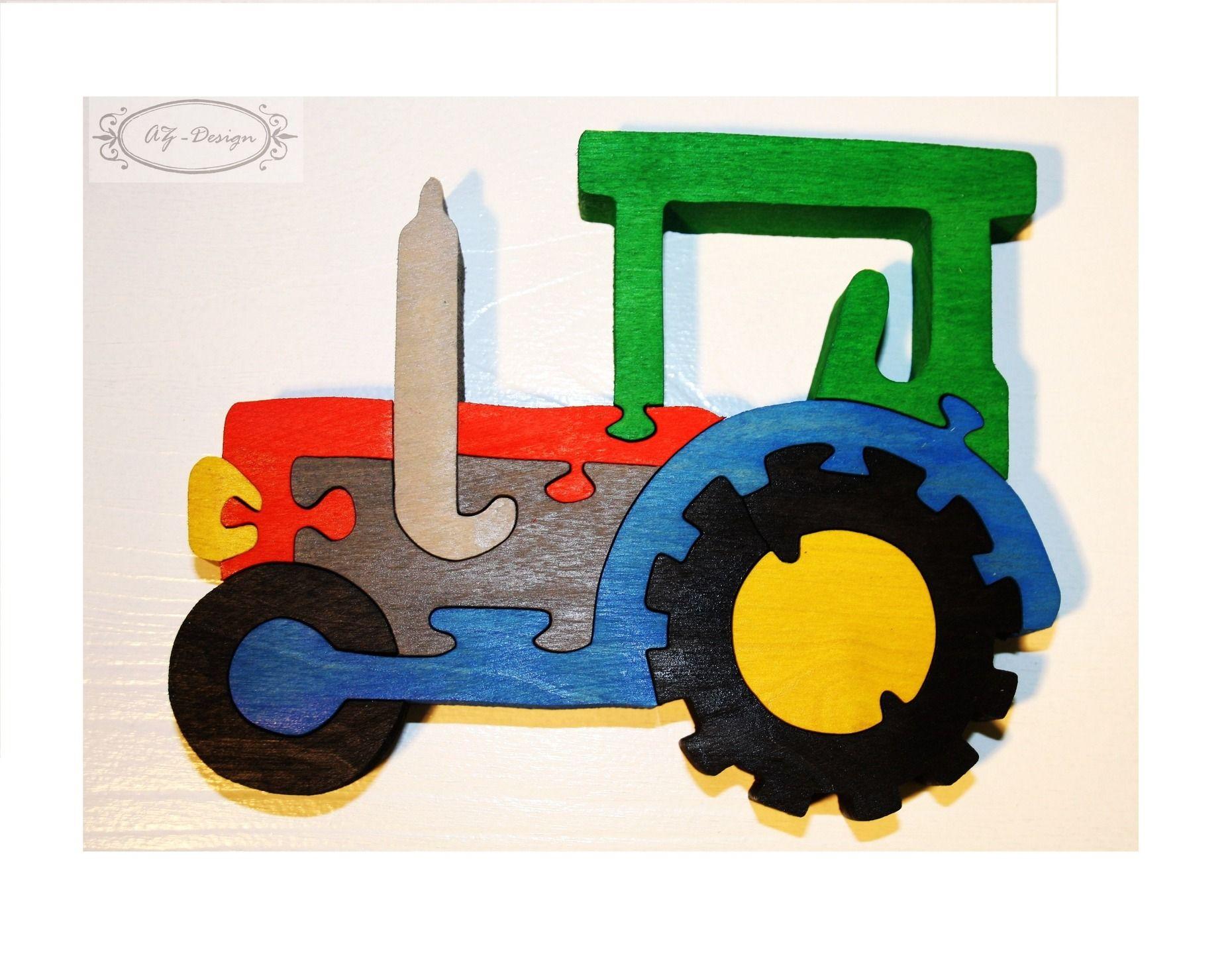 puzzle en bois tracteur voiture ferme village jouet enfant jeux jouets par az design. Black Bedroom Furniture Sets. Home Design Ideas