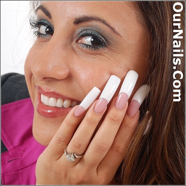 Sarah from OurNails.Com modeling her perfect pink and whites ...