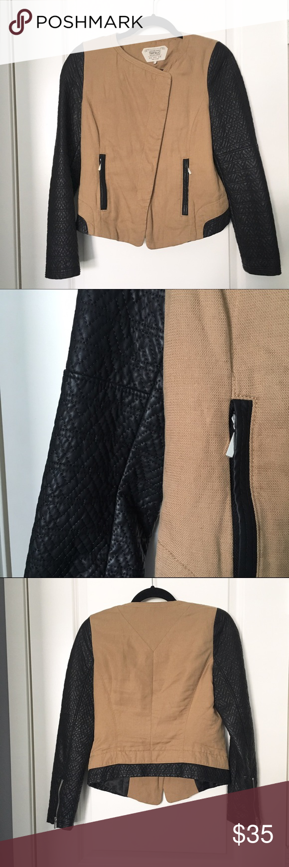 Zara Jacket with Vegan Leather Arms Size: medium Fit: length on the hips (I'm 5'5) Details: quilted detail vegan leather arms with 2 zipper pockets Color: Black and Brown Condition: Great Material: multi - linen, poly... Retail: $64 + tax Zara Jackets & Coats