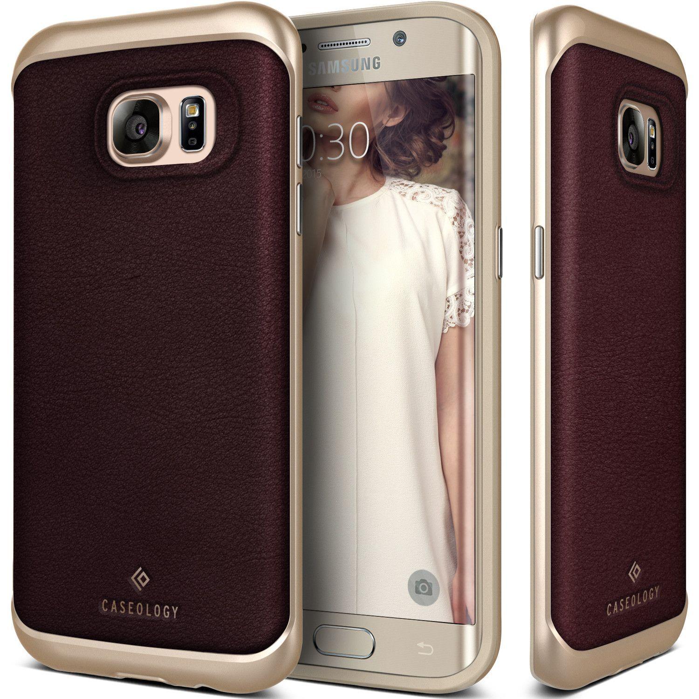 Caseology Galaxy S7 Edge case [Envoy Series] [Leather Cherry Oak]