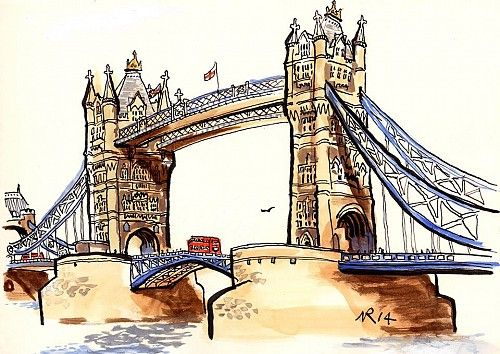 Tower Bridge In 2020 London Painting City Sketch Landscape Sketch