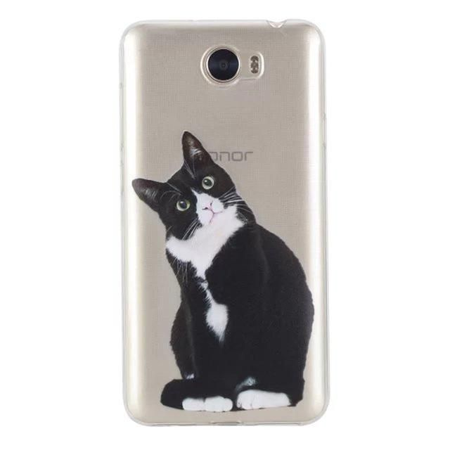 Transparent Phone Case sFor Huawei Y5 II / Y6 II Compact / Honor 5A LYO-L21 Lovely Animal Cat Silicon Soft TPU Back Cover