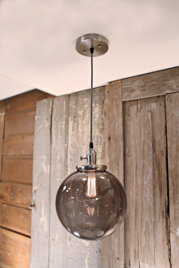 Best Smoke Glass Globe Fixture 10 Inch Pendant Lighting 400 x 300