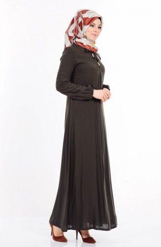 Sefamerve Bagcik Detayli Viskon Elbise 1134 11 Haki Yesil Elbise The Dress Moda Stilleri