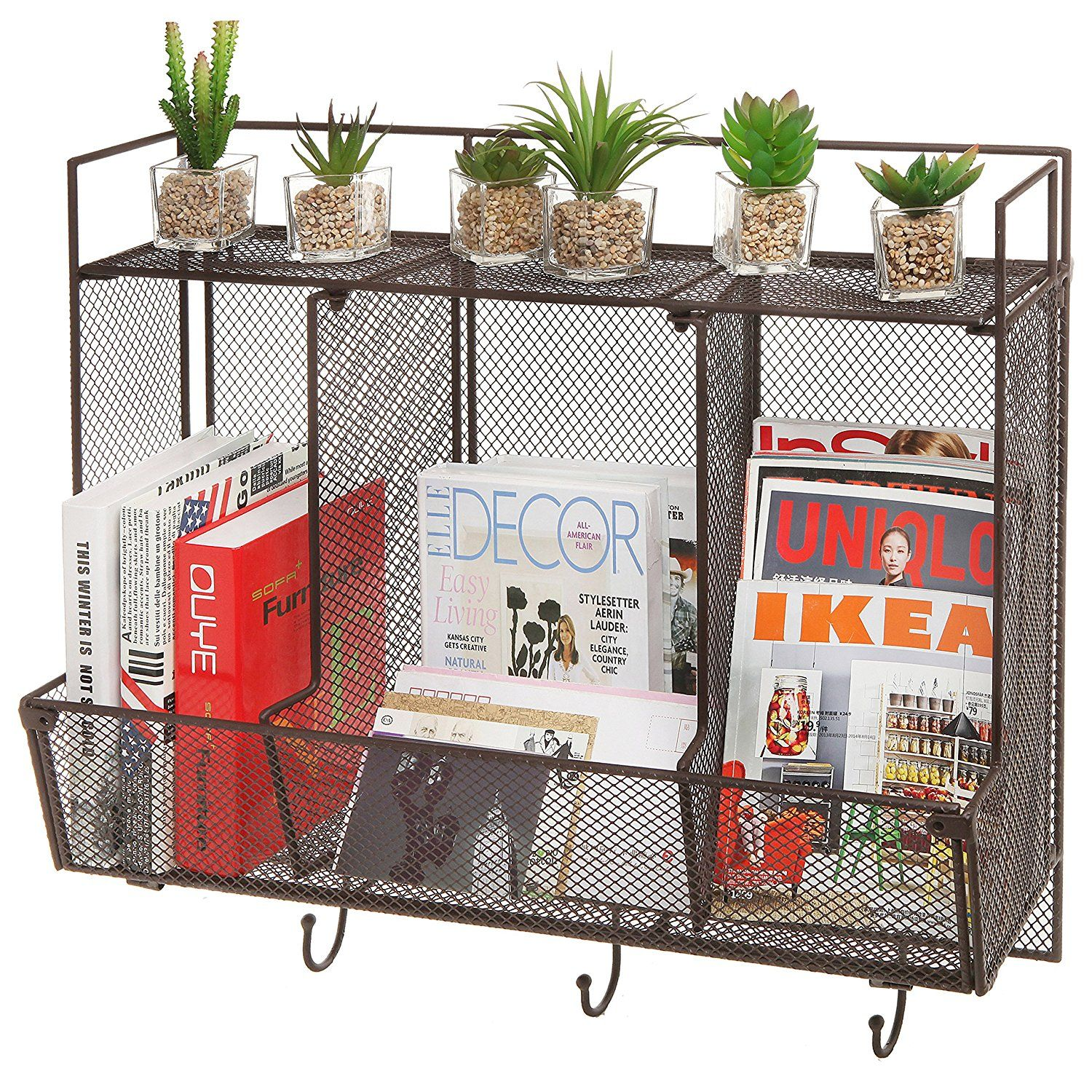 Country Rustic Large Wall Mounted Metal Wire Mesh 3 Compartment