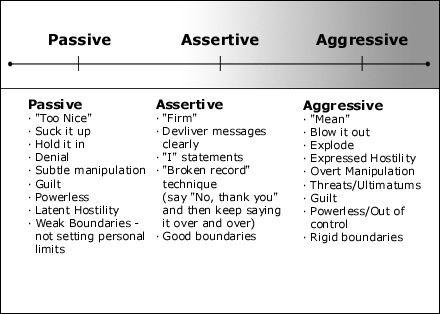 Assertiveness aggressiveness and passiveness