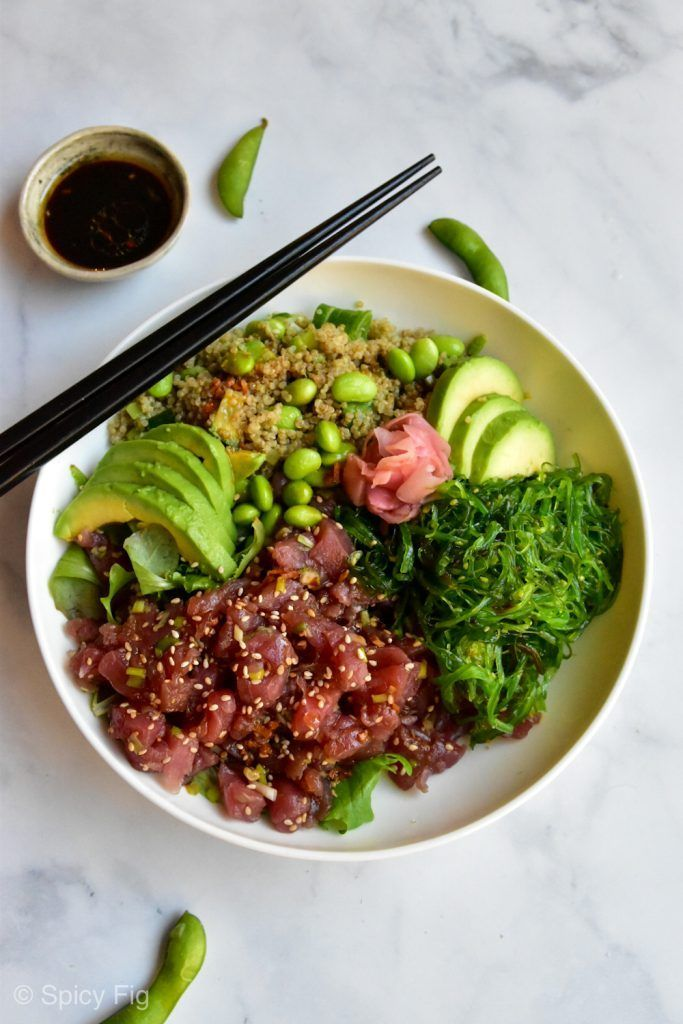 Tuna Poke Bowl With Wakame Quinoa Salad Recipe Spicyfig Avocado Bowl Quinoa Quinoarezept Rezepte Tuna Poke Bowl Poke Bowl Healthy Dinner Recipes