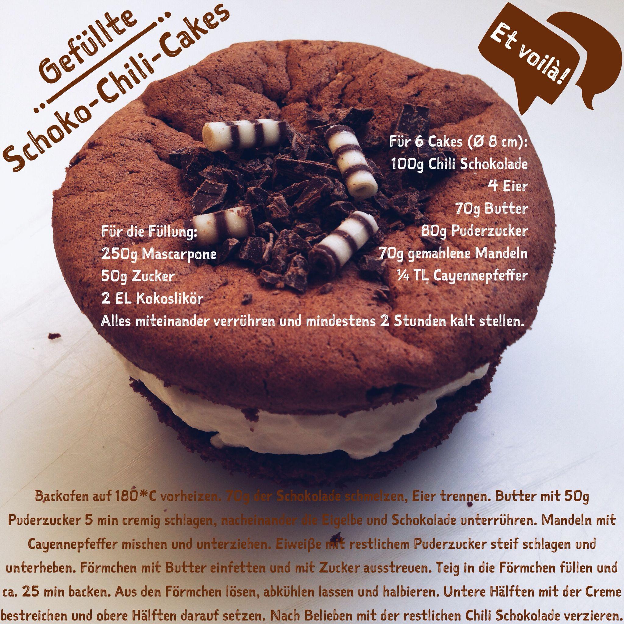 Rezept für Gefüllte Schoko-Chili-Cakes, et voilà!