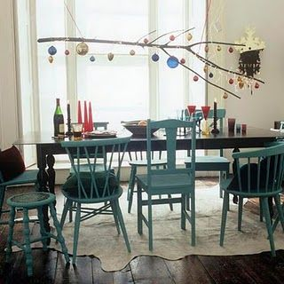 mismatched, matching painted chairs