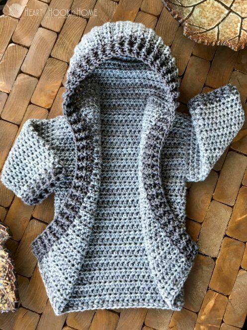 12 Month Infant Hoodie Free Crochet Pattern | Babysachen, Häkeln und ...