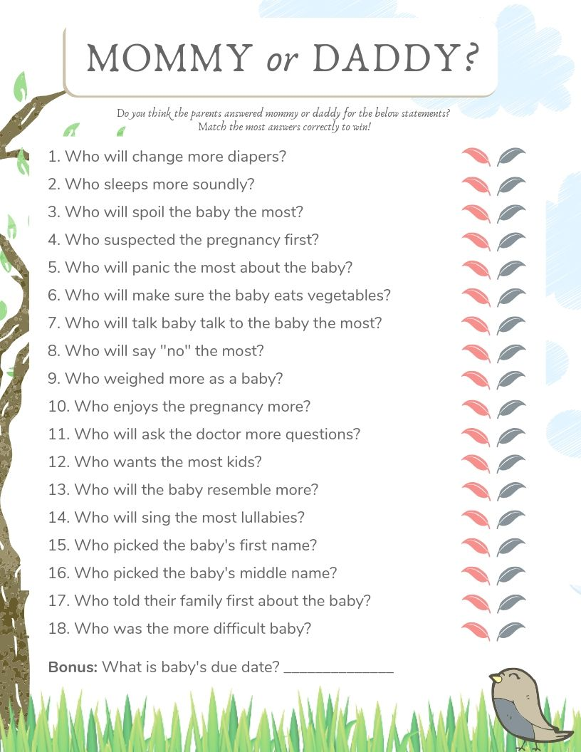 Questions For Parents To Be Baby Shower : questions, parents, shower, Shower, Mommy, Daddy, Theme, Funny,, Shower,, Funny, Games