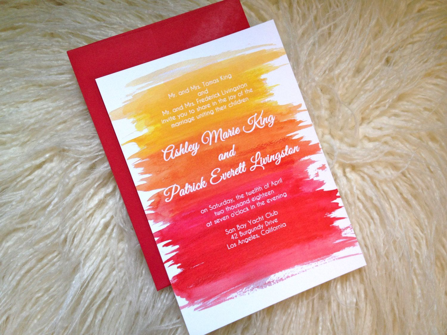 Modern Wedding Invitation-Watercolor Sunset. $171.50 for 70 invites ...