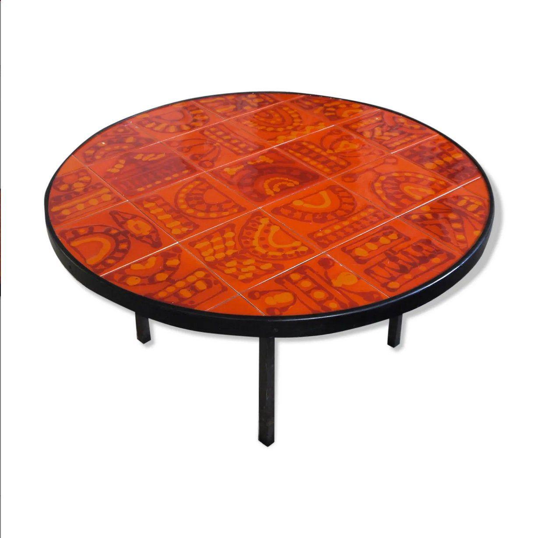 Table Basse Roger Capron Vintage Table Basse Ronde Carreaux De Ceramique Rouge Orange Table Basse Ronde Ceramique Capron Vallauris Coffee Table Round Coffee Table Table