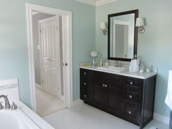 Light Blue Bathroom With Dark Wood With Images Light Blue