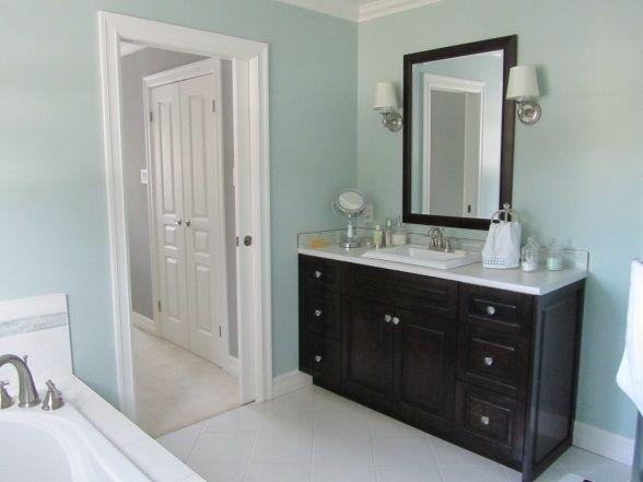 Light Blue Bathroom With Dark Wood Blue Bathroom Light Blue Bathroom Dark Blue Bathrooms