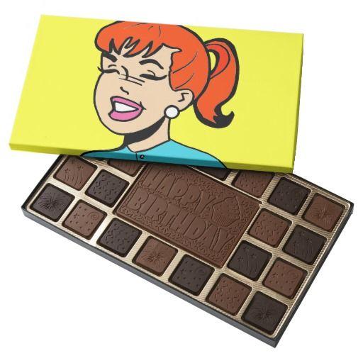 Giggle Comic Strip Box of Chocolates--#chocolates #ginger #redheads #thankyou #birthday #comics #popart #Zazzle #cartoon