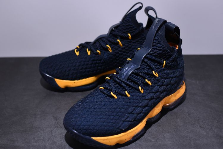 afe1cffa9b2a NIKE LEBRON 15 XV COLLEGE NAVY GOLD ROYAL 897648 535