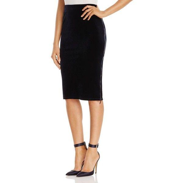 540eb6d371 T Tahari Lorayna Velvet Side-Zip Pencil Skirt ($62) ❤ liked on Polyvore  featuring skirts, stargazer, pencil skirts, white knee length skirt, zip  pencil ...