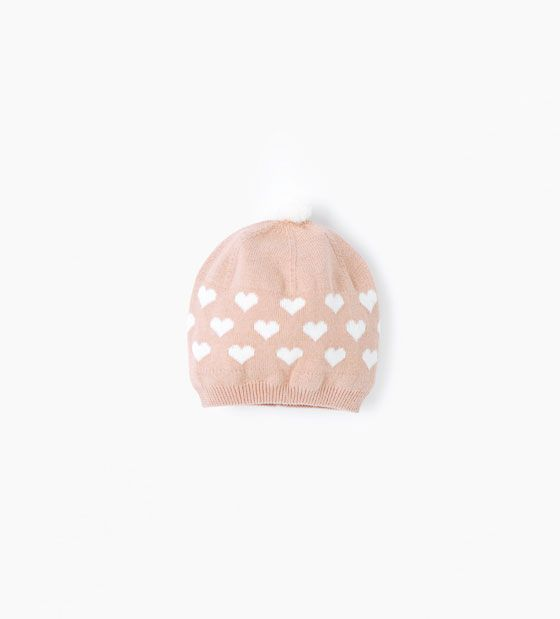 en arrivant grand choix de conception de la variété Image 1 of Pompom hearts hat from Zara | BabyBaby | Pompones ...