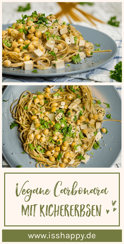Vegane Carbonara mit Kichererbsen - lecker, cremig & gesund #veganerezeptemittag