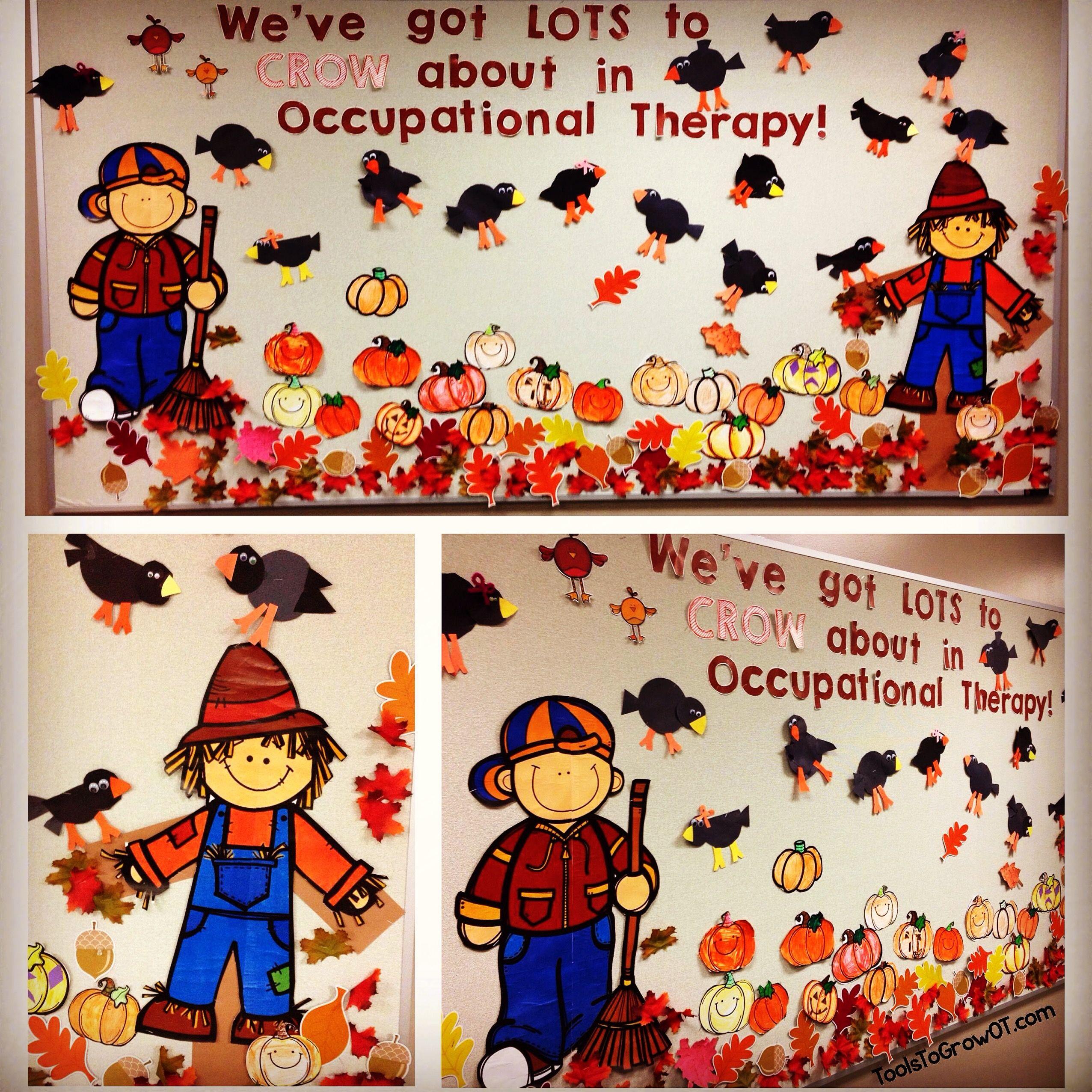 Fall Themed Bulletin Board Scarecrow Crow Pumpkin And