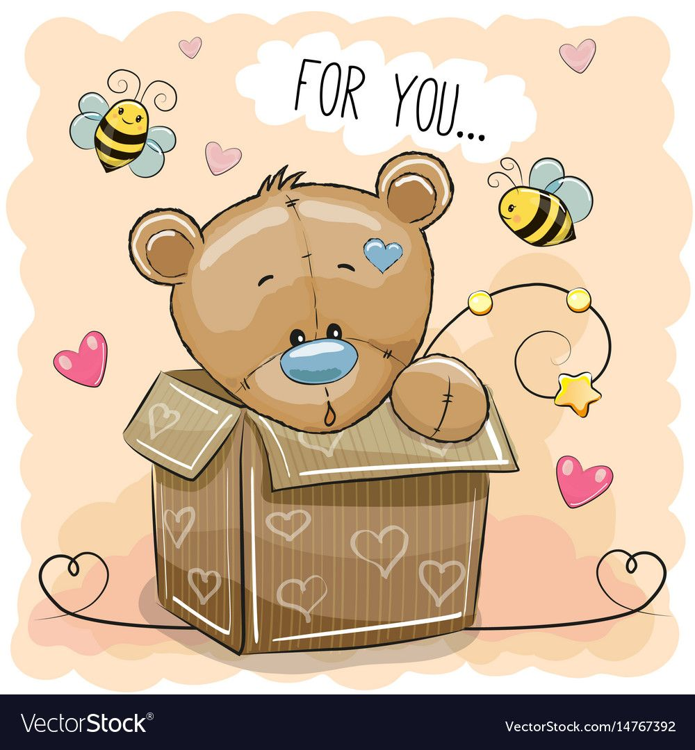 Valentine Card With A Cute Teddy Bear In A Box Download A Free Preview Or High Quality Adobe Illustrator Teddy Bears Valentines Cute Teddy Bears Cute Cartoon
