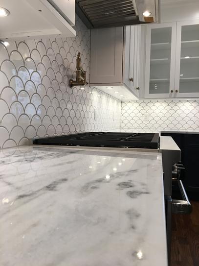 Jeffrey Court Allegro White Fan 8 75 In X 13 In X 8 Mm Ceramic Mosaic Tile 96600 The Home Depot Kitchen Backsplash Designs White Tile Backsplash Kitchen Tiles Backsplash