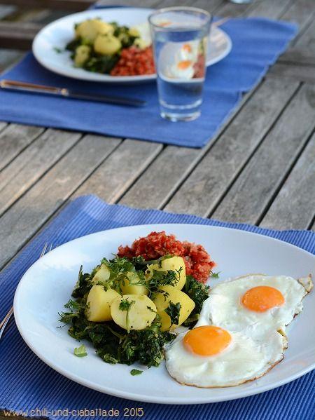 Indisch inspirierte Spinat-Kartoffeln mit Spiegelei und Paprika - jamie oliver küchenhelfer