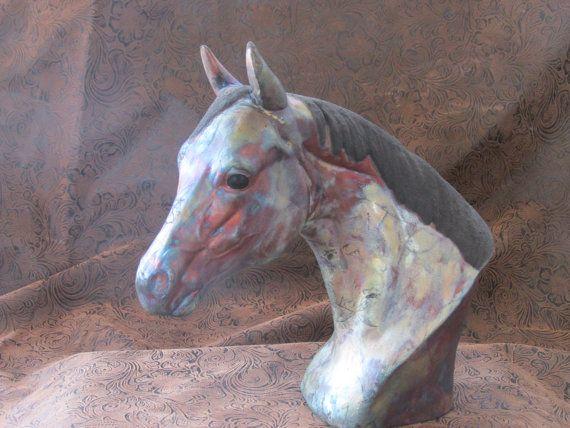 Raku Horse Head Bust Quarter Horse by 3TFiredArts on Etsy