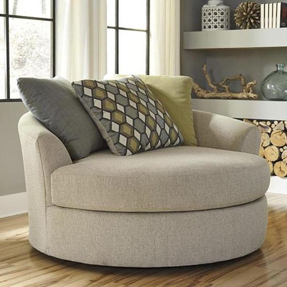 Casheral Oversized Swivel Accent Chair In Linen Furniture