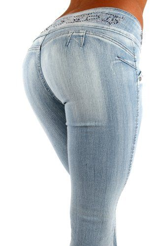 59b776f9 Silver Diva Style DJ1290 Stretch distressed Push-Up Jeans (Levanta Cola)  Skinny jeans in Light washed Blue $36.99