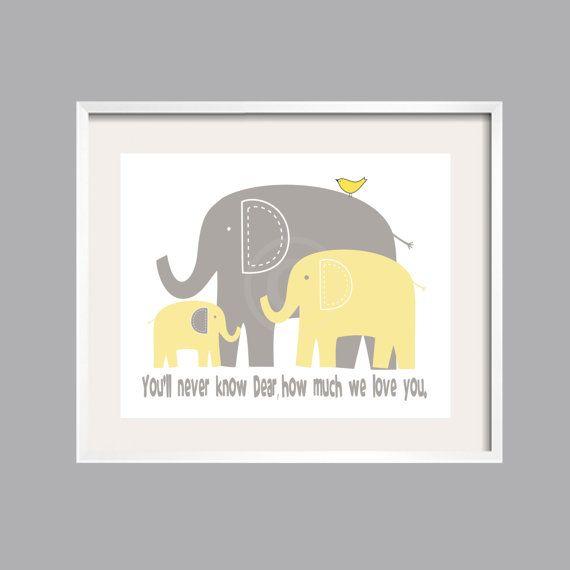 Items Similar To Eli S Elephant Print Art Poster Yellow And Gray Nursery Decor Baby Shower Gift Boy Room On