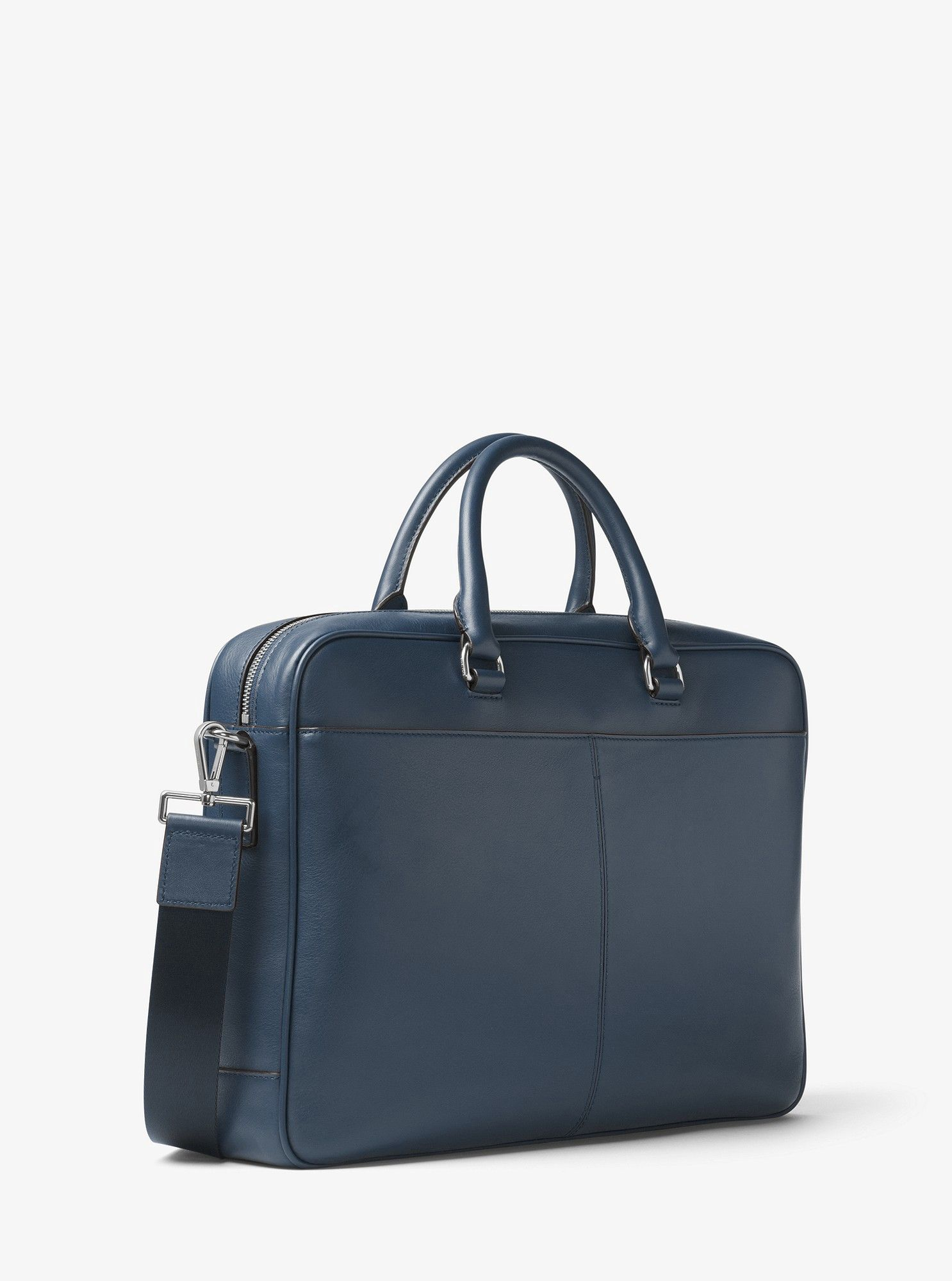 8e1327b41f82 Michael Kors Odin Large Leather Briefcase - Baltic Blue | Mens ...