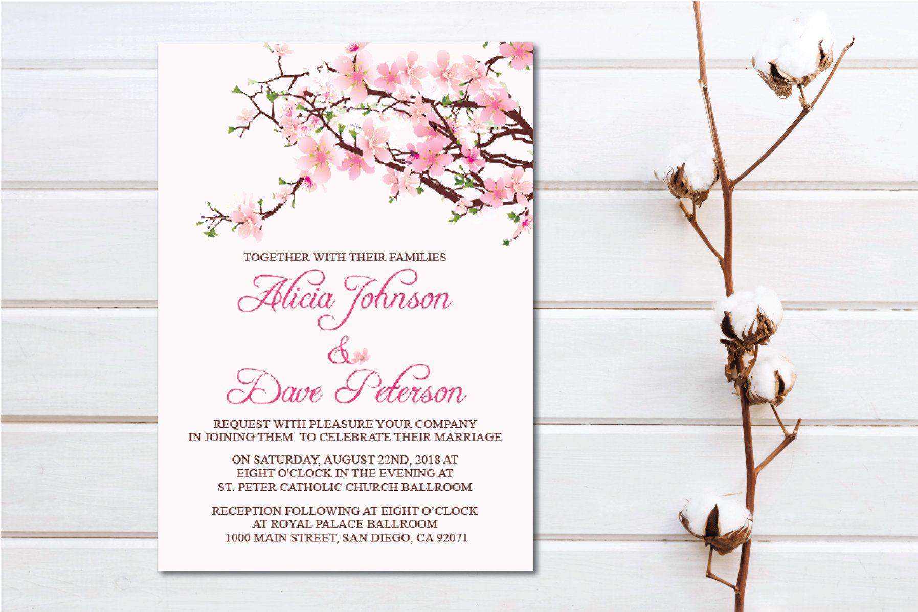 Set of 5 Printable Cherry Blossom Wedding Invitation/E-Card