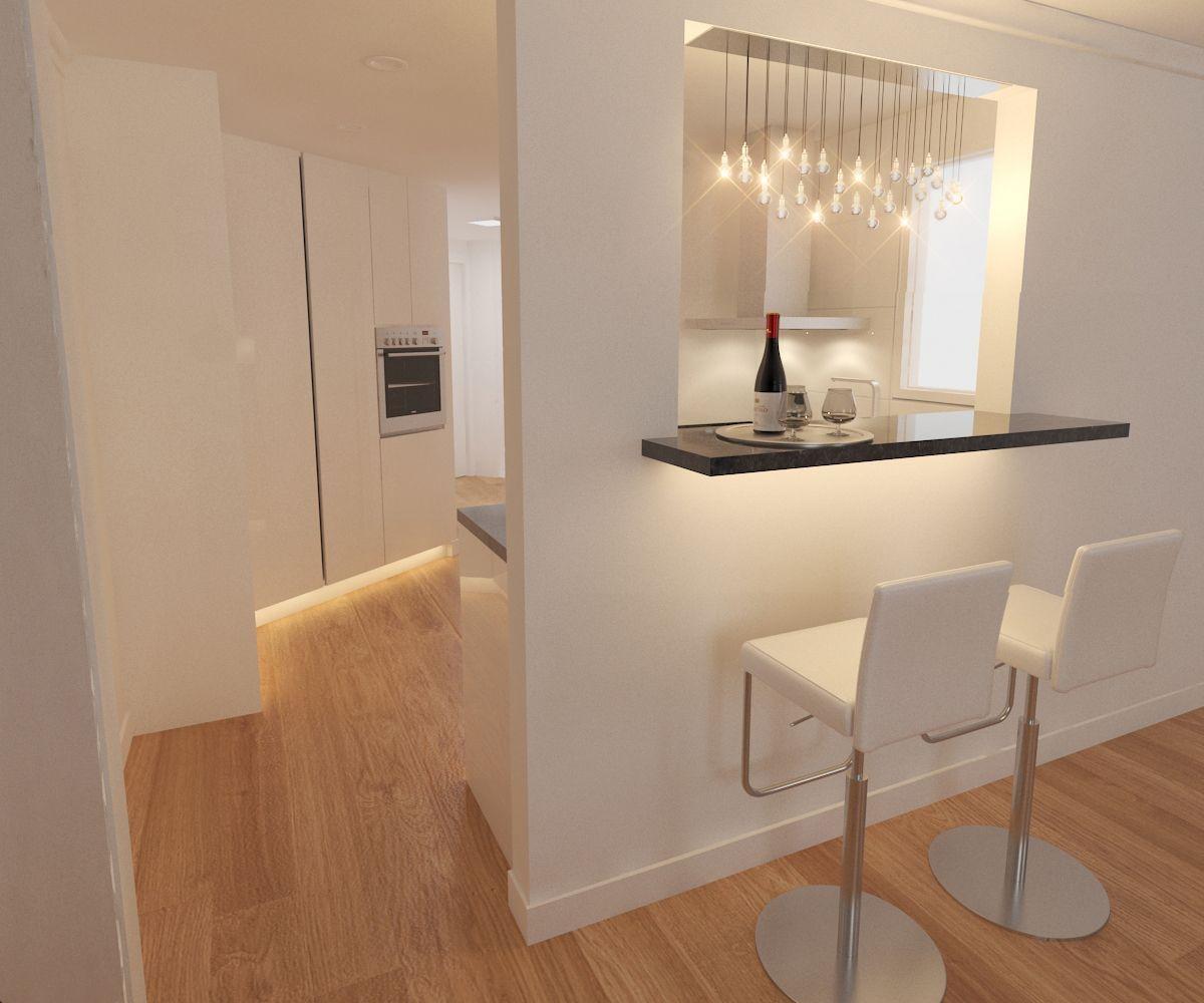 Reforma de cocina con Isla que funciona como barra comedor ...