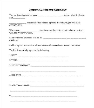 Commercial Sublease Agreement Template , 11+ Simple Commercial - office lease agreement templates