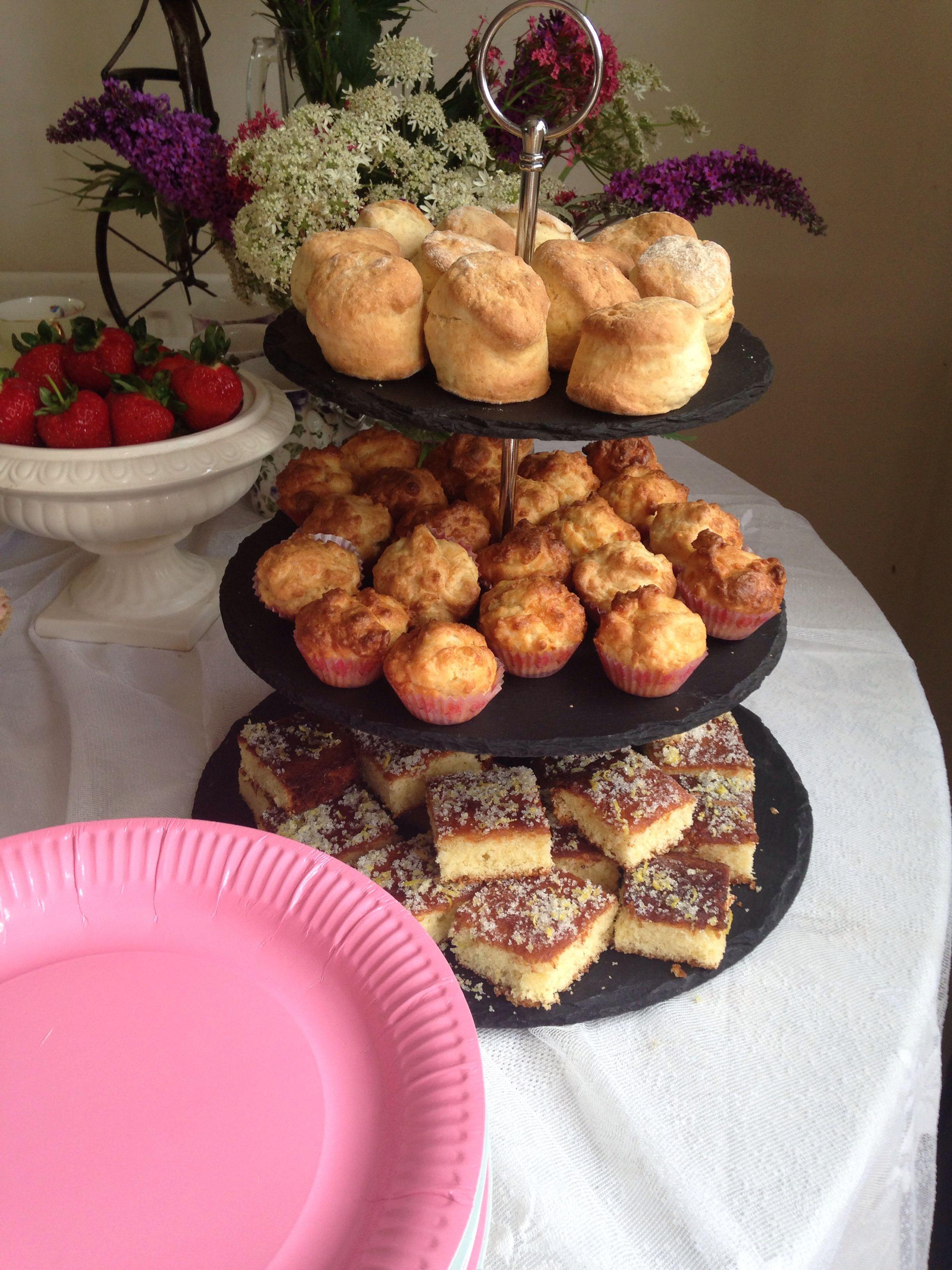 Julie's birthday tea .... Mini scones and cheese muffins